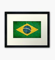 Vintage Grunge Brazil Flag Framed Print