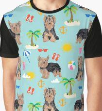 Yorkshire Terrier dog breed pet pattern dog art pet friendly terriers portrait beach summer by PetFriendly Graphic T-Shirt