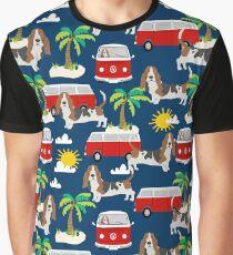 Basset Hound mini bus tropical dog breed pattern hippie bus custom dog portraits by PetFriendly Graphic T-Shirt