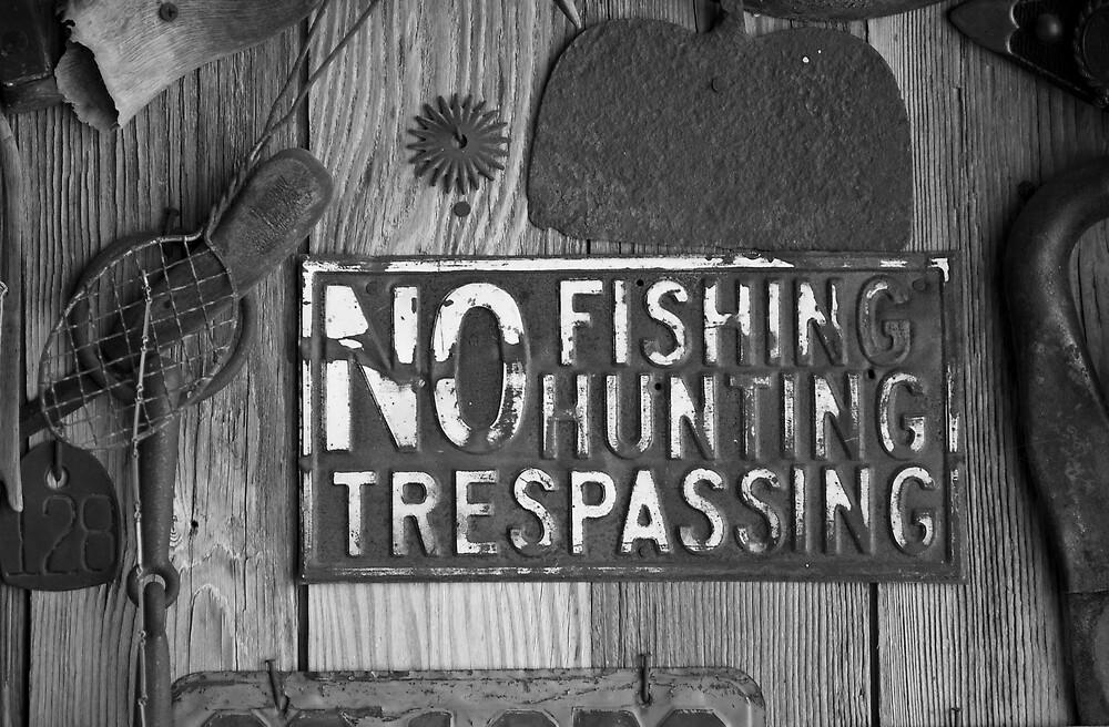 No Fishing Hunting Trespassing Sign by Ian Moreland