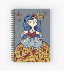 inkbrushgirl with cat, coloured version Spiral Notebook