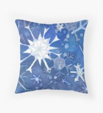 Winter Snow Flakes Watercolor Throw Pillow