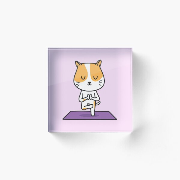 Yoga Cat Acrylic Block