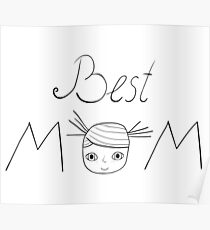 Best mom words with cute girl drawing Poster