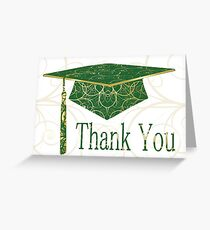 Green & Gold Floral Cap Thank You Card  Greeting Card