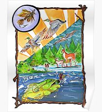 Hunting Fly Fishing Poster