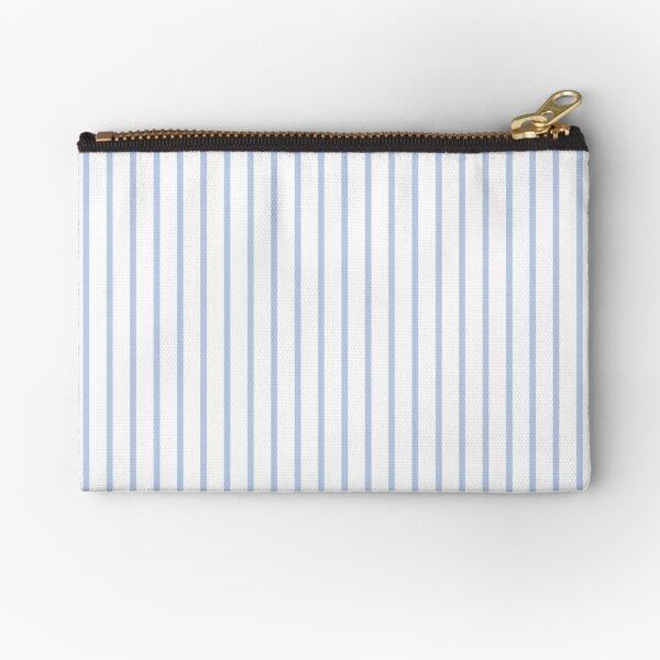 Alice Blue Pinstripe on White Zipper Pouch