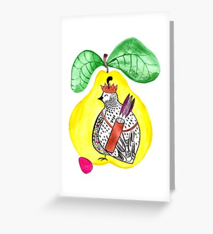 Quail in a Quince Greeting Card