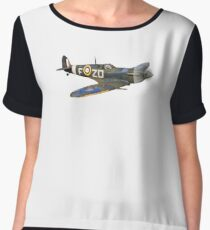 SPITFIRE, British, Airplane, Fighter, WWII, 1942, Spitfire VB, 222 Squadron, cut out Chiffon Top