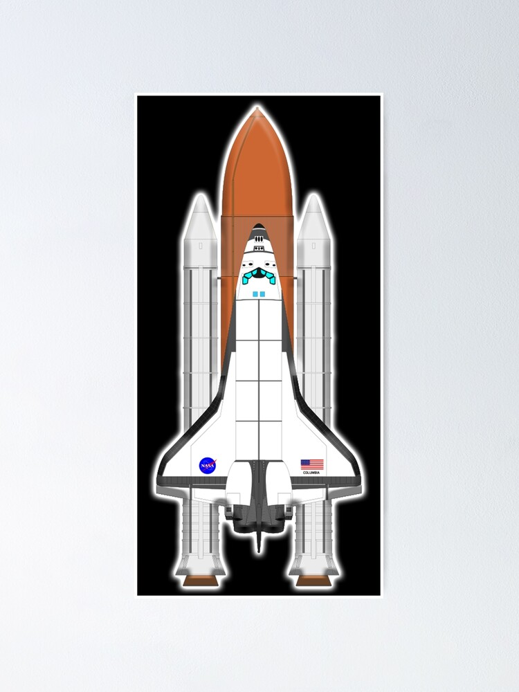 Alternate view of Space Shuttle Discovery. Space. Orbit. On Black. Poster