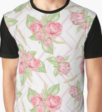 Watercolor Roses Pattern Graphic T-Shirt