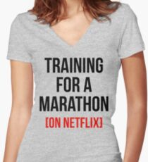 TRAINING FOR A MARATHON [ON NETFLIX] Women's Fitted V-Neck T-Shirt