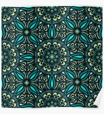Colorful abstract ethnic floral mandala pattern design Poster