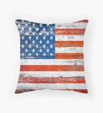 Primitive Barn Wood Grain grunge USA American Flag  Throw Pillow