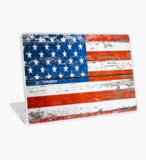 Primitive Barn Wood Grain grunge USA American Flag  Laptop Skin