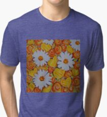 Orange Roses Yellow Hearts Daisies Babies Breath Flowers Love Mothers Mom Wife Girlfriend Sweetheart Tri-blend T-Shirt