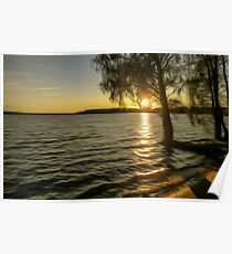 Sunset over a quiet lake. Natural beauty of relaxation on the water. Poster