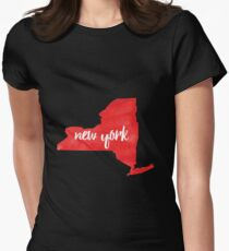 New York– red Womens Fitted T-Shirt