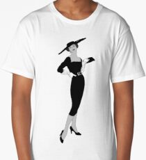 Vintage Fashion Black & White with Red Lips Long T-Shirt