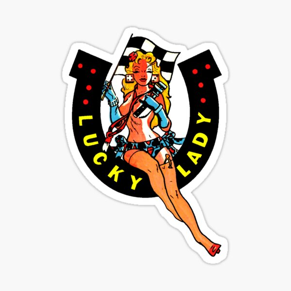Lucky Lady Hot Rod Pin Up Vintage Decal Sticker