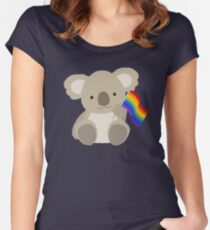 KOALA WITH GAY PRIDE FLAG Women's Fitted Scoop T-Shirt