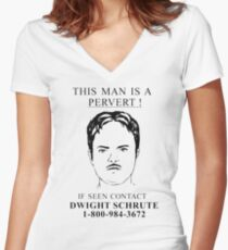 This Man is a Pervert Women's Fitted V-Neck T-Shirt