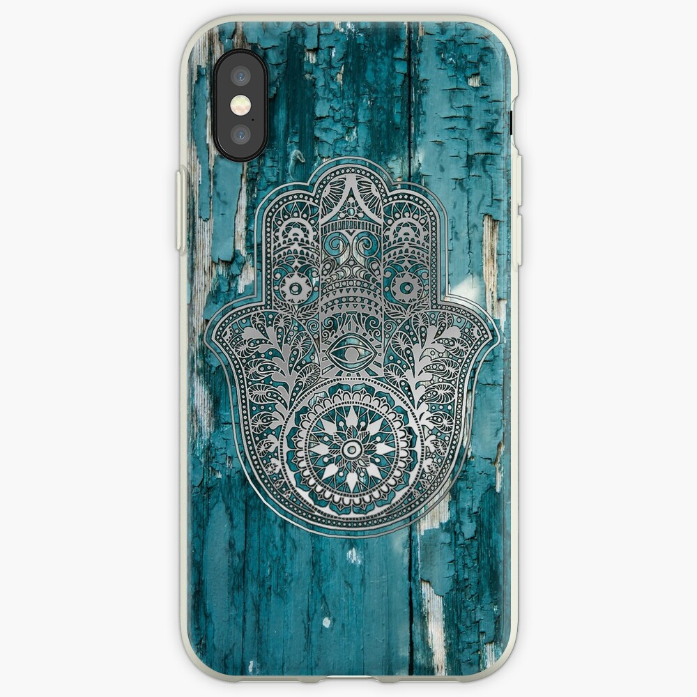 Silver Hamsa Hand On Turquoise Wood Vinilos y fundas para iPhone