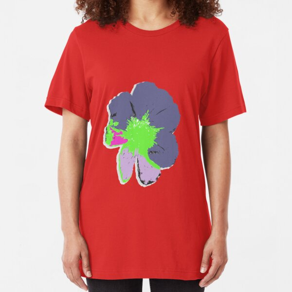 Color Splash Pop Art Flower Slim Fit T-Shirt