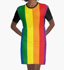 Vertical Gay Pride Rainbow Flag Graphic T-Shirt Dress