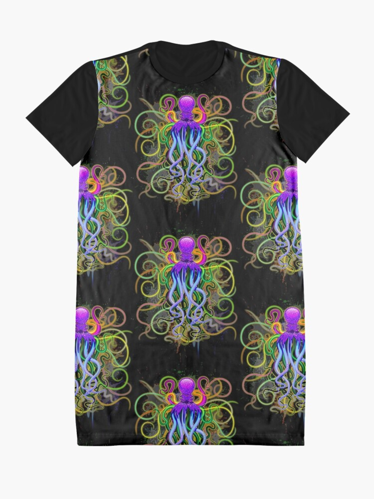Alternate view of Octopus Psychedelic Luminescence Graphic T-Shirt Dress