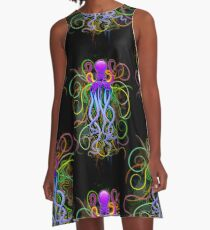 Octopus Psychedelic Luminescence A-Line Dress