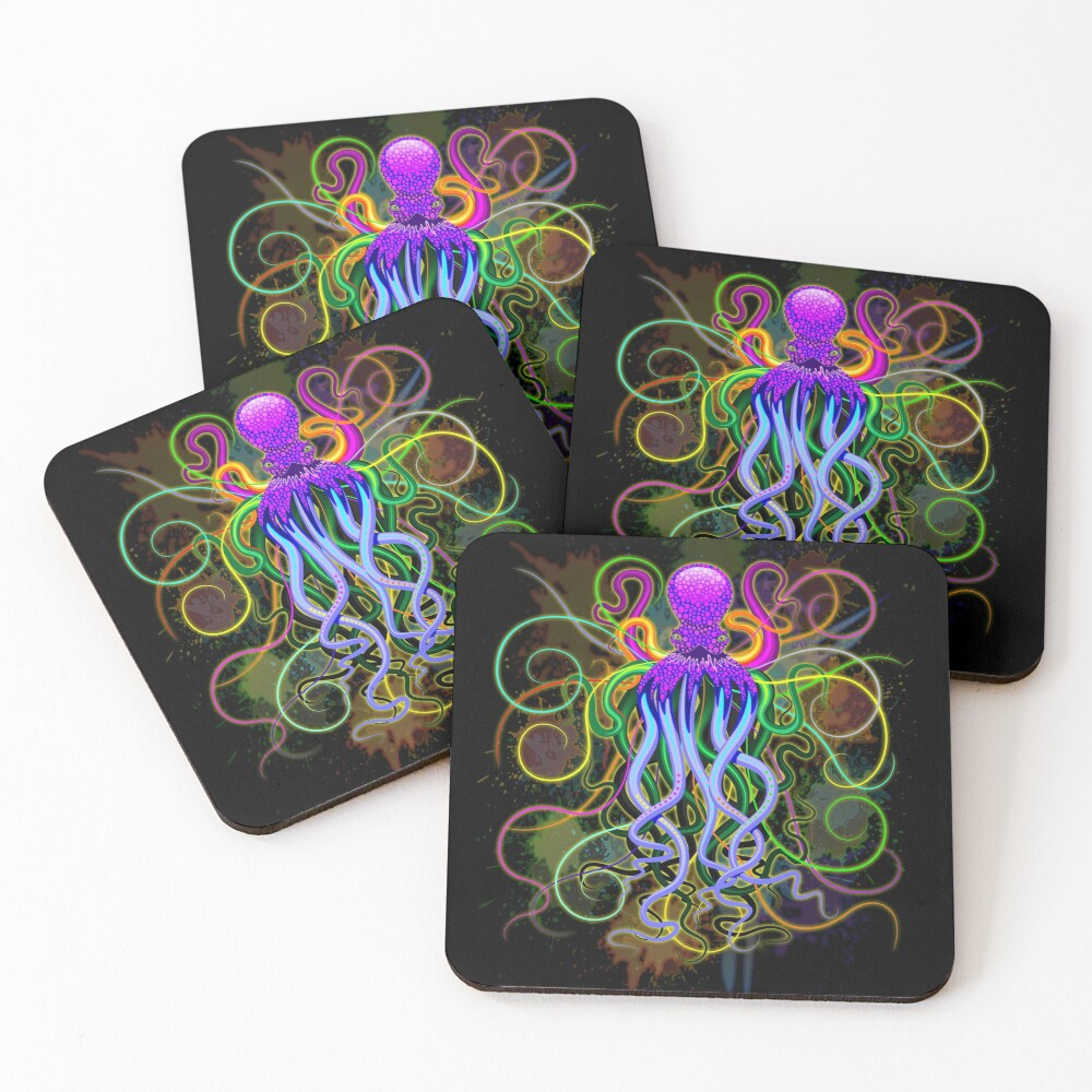 Octopus Psychedelic Luminescence Coasters (Set of 4)