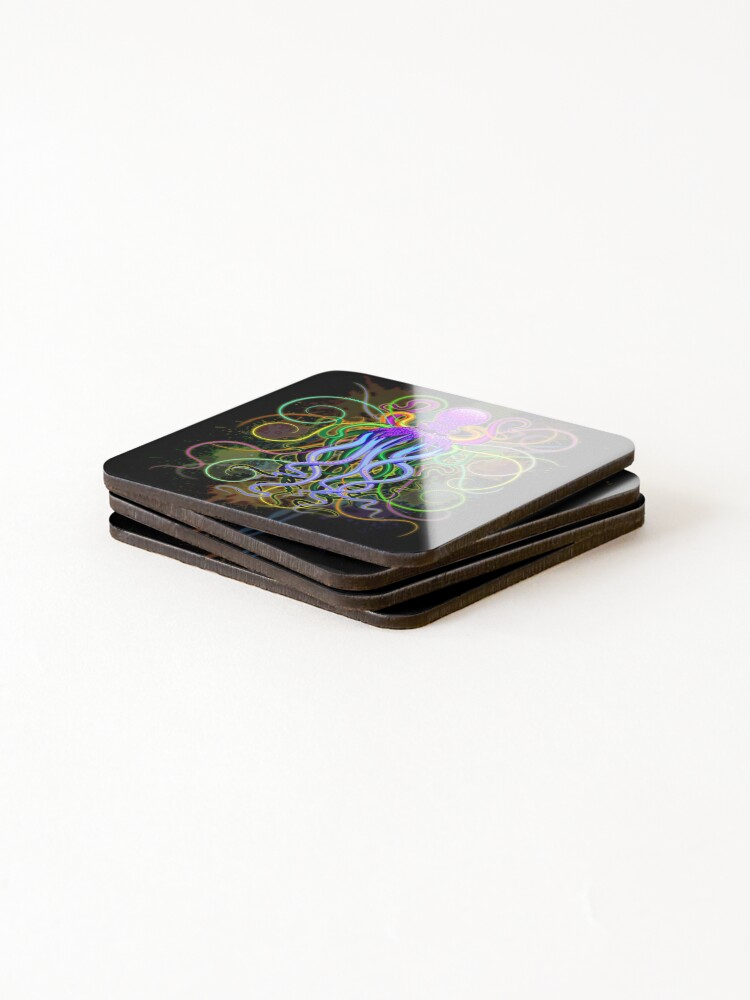 Alternate view of Octopus Psychedelic Luminescence Coasters (Set of 4)