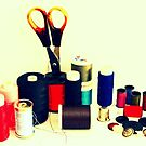 Buttons, Cotton Reels, Scissors And A Thimble by Evita