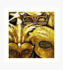 Golden Mardi Gras Masks Art Print
