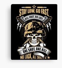 Awesome Soldier Quote Skull Artwork Canvas Print