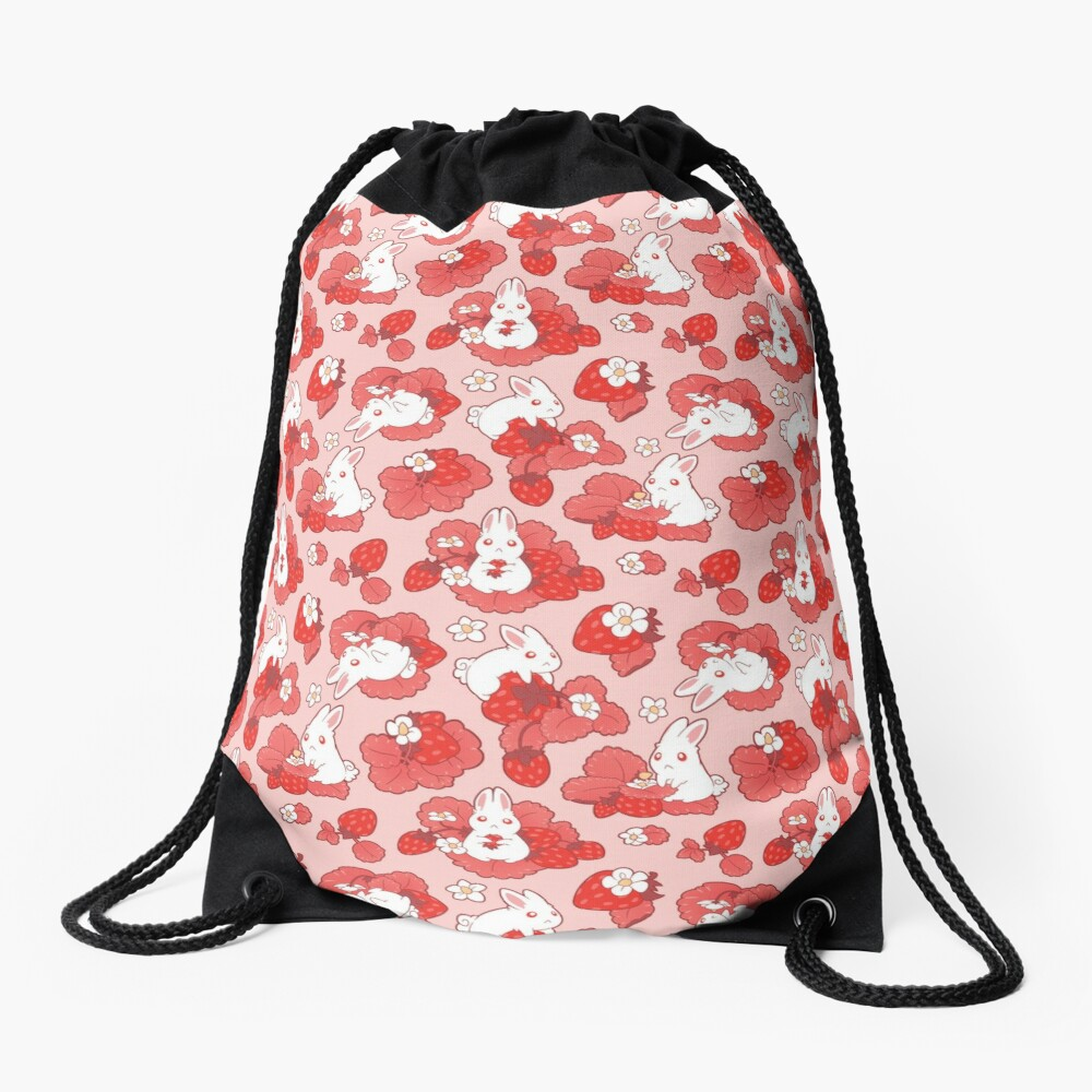 Strawbunny Delight Drawstring Bag