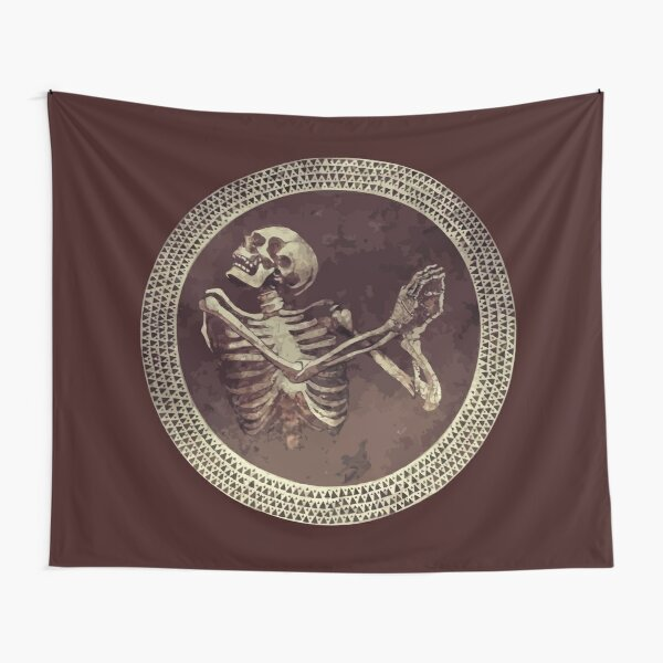 Hannibal: Dancing Skull + Skeleton Mosaic  Tapestry