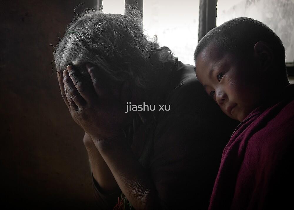A Tibetan woman and a young monk . by jiashu xu