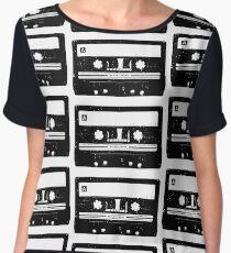 Cassette Tape Pattern White Chiffon Top