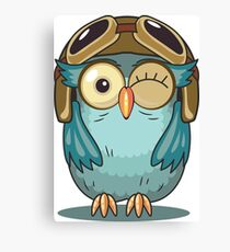 Owl with Pilot Cap and Goggles Canvas Print