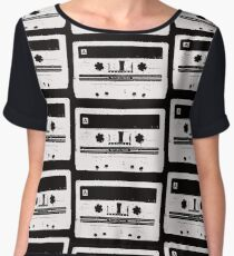 Cassette Tape Pattern Black Chiffon Top