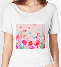 Blush pink - peony roses Women's Relaxed Fit T-Shirt