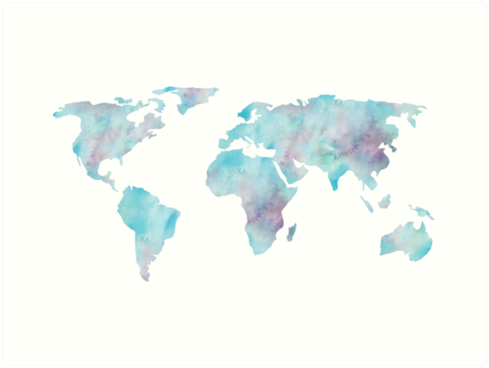 World map ocean blue watercolor art prints by naturemagick world map ocean blue watercolor by naturemagick gumiabroncs Choice Image