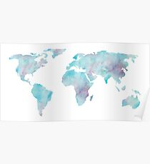 Weltkarte-Ozean-Blau-Aquarell Poster