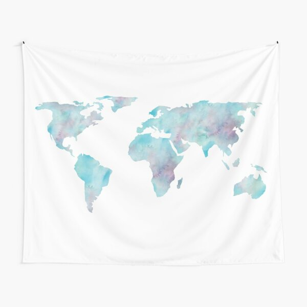 World Map Ocean Blue Watercolor Tapestry
