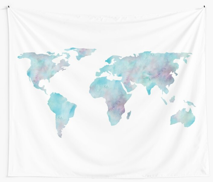 World Map Ocean Blue Watercolor by naturemagick