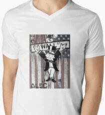 Wall St. Crucifix with American Flag Mens V-Neck T-Shirt