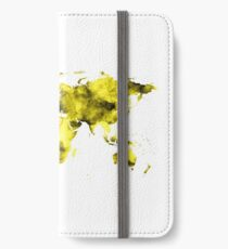 World Map Vivid Yellow Watercolor iPhone Wallet/Case/Skin