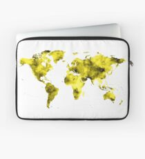 World Map Vivid Yellow Watercolor Laptop Sleeve